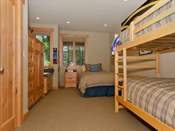 Downstairs Bedroom with Double and Bunk Beds