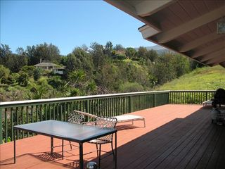 Kula house photo - Expansive deck with outdoor furniture and gas BBQ