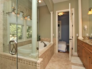 Forest Beach house photo - Master Bathroom, 1st floor, open to Cottage room and Master Bedroom, tub&shower