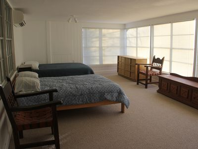 The 'sun' bedroom.  Full size and queen size beds.  Independent heating/cooling with modern ductless