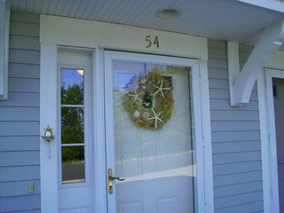 Wells townhome photo - Charming Front Entrance Complete with Lobster Doorknocker
