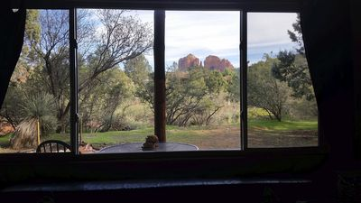 View of Cathedral Rock changes hues throughout day. See wildlife from l.r. + d.r