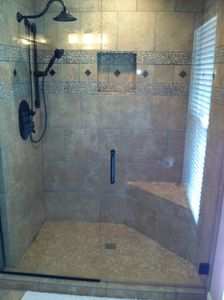 Master bath shower. All custom tile