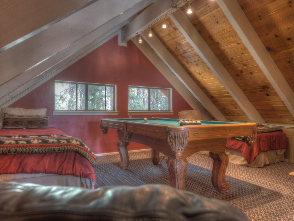 Pool table room with 2 extra long twin beds