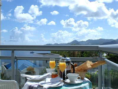 Breakfast on bedroom balcony.