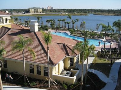 Balcony View Overlooking the Beautiful Lake Cay, Clubhouse & Pool/Spa