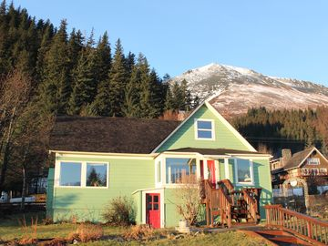 Seward house rental - Front of the house with Mt. Marathon in the background.