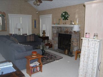 Jack Frost Mountain house rental - Living Area with fireplace and cathedral ceiling