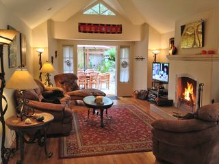 Carmel house photo - Relax in the great room with raised ceilings and gas/wood burning fireplace.
