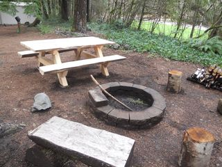 Blue River cabin photo - Nice Outdoor Area With Table and Firepit