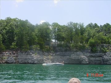 Norfork Lake estate rental - View of the house from the lake...