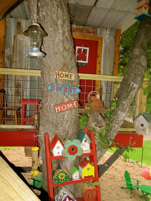 REAL TREEHOUSE BEDROOM for adults or kids attached to cottage above play area