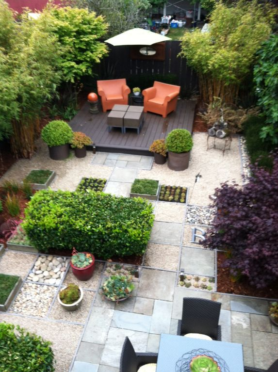 Relax in this designer garden with morning coffee or an evening glass of wine