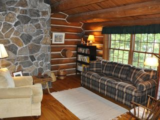 Piseco Lake lodge photo - Loft Reading Area with Convertible Couch.