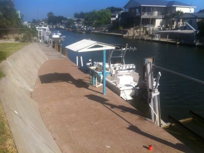 Your Boat can be tied at dock, ready for early morning or late night fish trip.