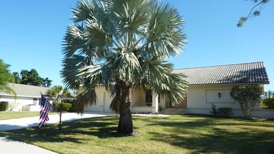 View of our Florida home from Bobcat Dr. That's a Mexican Fan Palm on front lawn