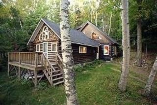 Rangeley Lake cabin rental - Side view, old camp, new addition