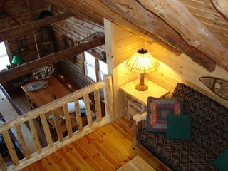 Den looking down on dining room - Colton cottage vacation rental photo