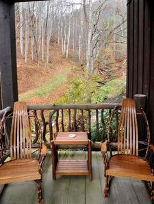 Twin room porch over looking stream