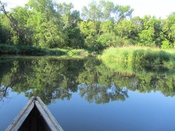Take a scenic canoe ride right from the cabin to find one of two river entries.