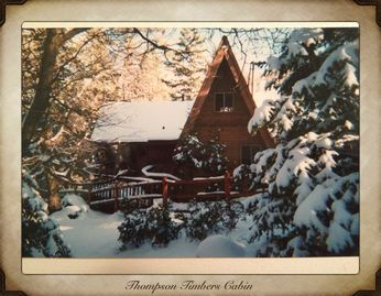 Big Bear Lake house rental - front of cabin in winter