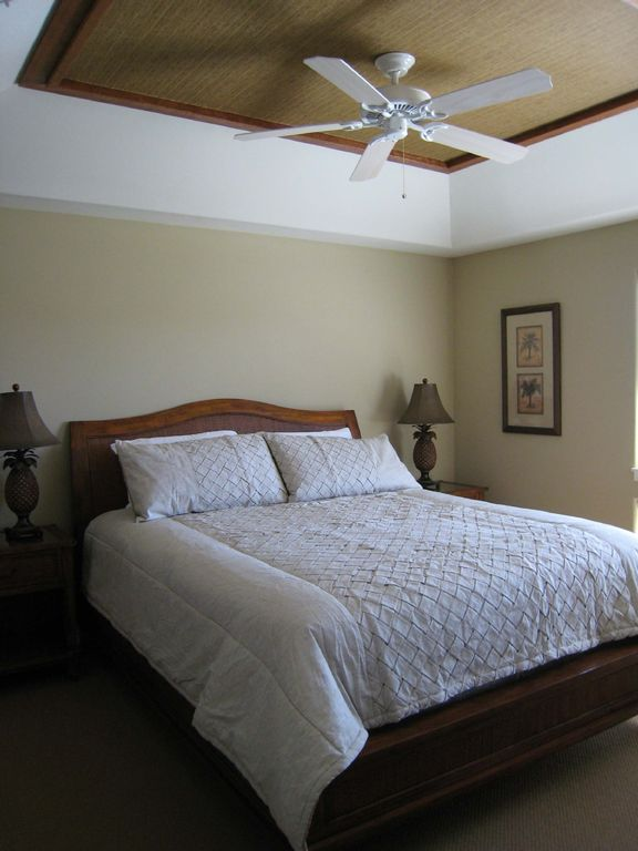 Both bedrooms and the living area have ceiling fans for added comfort