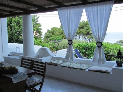 Aeolian Islands cottage rental - Terrace with Dining Table
