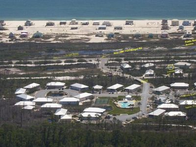 Aerial view of Rookery complex in forefront-beach access at the top