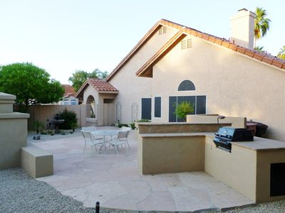 Scottsdale house rental - Your Flagstone Patio with Gas BBQ and stand up bar.