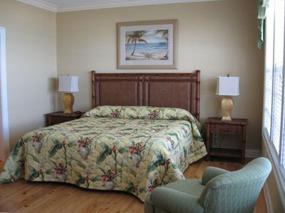 Oceanfront master suite with rocking chair; bath with jacuzzi tub & body shower