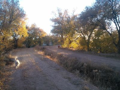 Corrales cottage rental - Irrigation canal, path leads to river and shops and restaurants