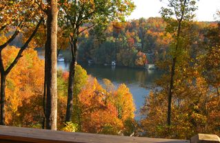 Lake Lure cabin photo - Fabulous Fall views of the lake from the wrap around deck.