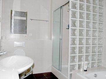 Main Bathroom with huge bath and separate shower.