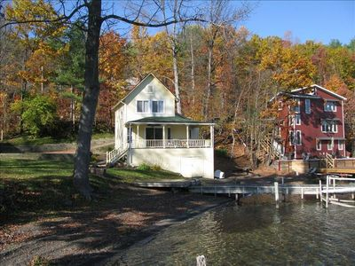 Hammondsport house rental - View of the home from the Lake. Over 100' of Pristine Natural Shale Beach.