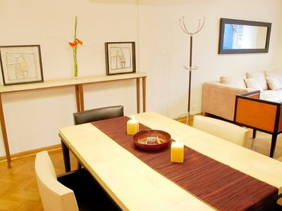 Recoleta apartment rental - Dining area with parchment table and leather chairs by Eugenio Aguirre