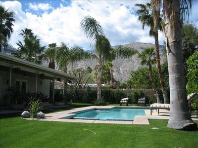 Pool, spa and private backyard with great views of San Jacinto mountains