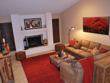 Mesa house rental - Cozy up to the fire and enjoy the wide range of games and movies in the lounge.