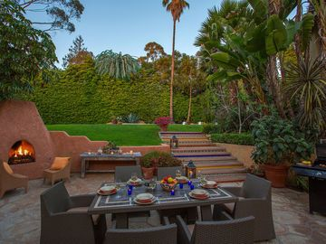 Montecito house rental - Central patio, pool terrace above