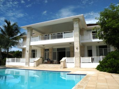 Punta Cana villa rental - Casa Blanca, large pool with golf and beach views
