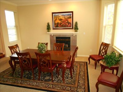 2nd Dining Area w/Gas Fireplace for Cozy, Intimate Family Dinners.