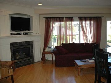 Living room with gas fireplace, and large screen TV