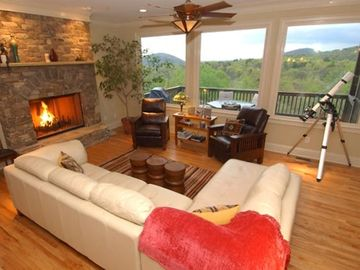 Big Canoe house rental - The great room at Stargazer Lodge offers spectacular views of the Mountains.