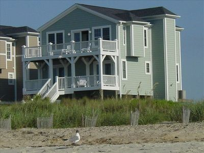 View from beach, house is across dunes and lightly traveled 1-way street.