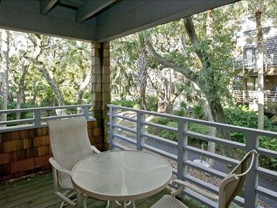 Deck view of wooded courtyard