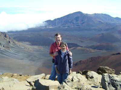 Bill and Machiko next to the crater at Haleakala