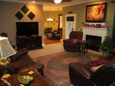 Cozy home in a peaceful neighborhood.  Enjoy the 60 inch TV with surround sound.