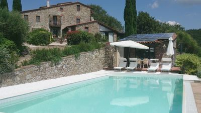 Stone farmhouse near Massa Marittima, with incredible view until the Elba island