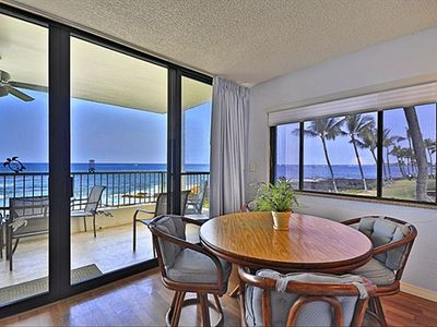 View from the living room, out to the lanai and the ocean beyond!