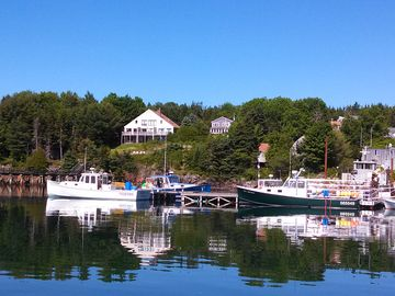 Southwest Harbor condo rental - View from Great Harbor Marina of Windward Shores (Midships is middle unit)