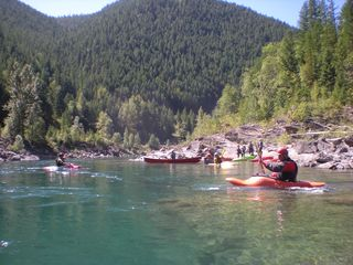 Whitefish cabin photo - Cruising the middle fork on kayaks